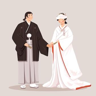 Roupa tradicional com mulher e homem