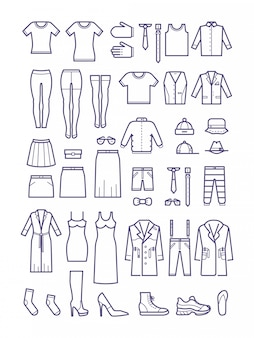 Roupas casuais masculinas e femininas, ícones de contorno de vestuário