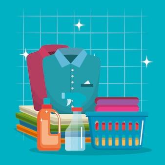 Roupas com ícones de serviço de lavandaria