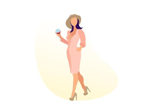 Roupas da moda mulher andando com copo de vinho