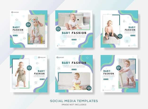 Roupas de bebê definir banner flyer post para mídias sociais.