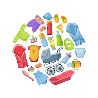 Roupas de bebê e equipamentos em forma de desenho de círculo