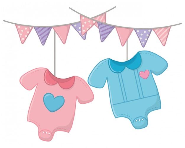 Roupas de bebê e pingentes de ilustração vetorial