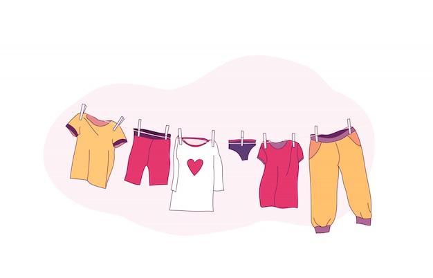 Roupas de bebê fofo secando na corda. ilustração.