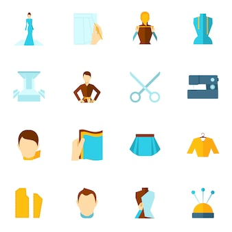 Roupas de designer ícone plana