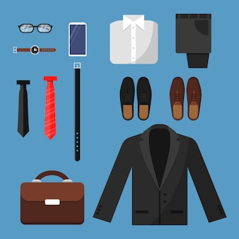 Roupas de homem de negócios. itens de moda mens calças camisa sapatos relógios gravata saco vector vista plana ilustrações planas