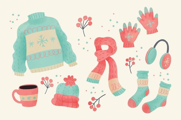 Roupas de inverno aquarela e essenciais