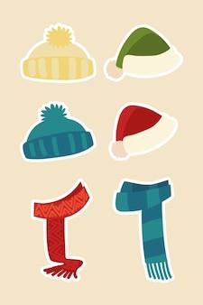 Roupas de inverno, chapéus, lenço, acessório quente, adesivos de moda, ícones, ilustração