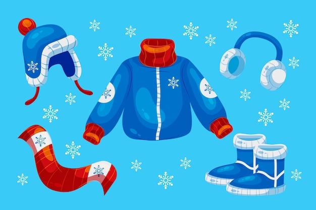 Roupas de inverno de design plano e essenciais
