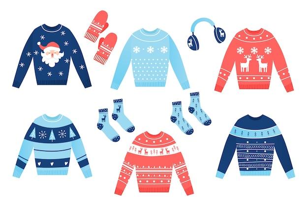 Roupas de inverno de design plano e itens essenciais
