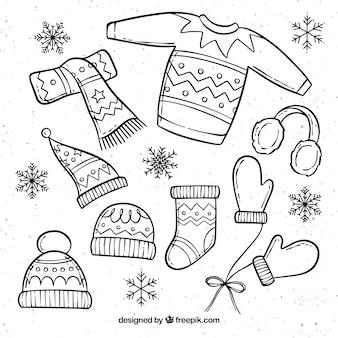 Roupas de inverno desenhada de mão