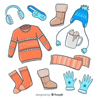 Roupas de inverno desenhadas a mão e essenciais