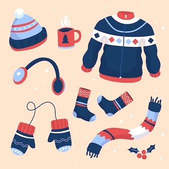 Roupas de inverno desenhadas à mão e essenciais