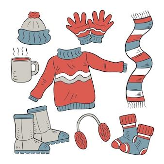 Roupas de inverno desenhadas à mão e itens essenciais