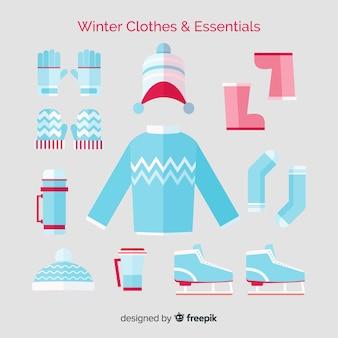 Roupas de inverno e coleção de essenciais