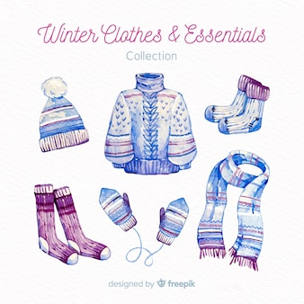Roupas de inverno e coleção de itens essenciais