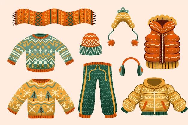 Roupas de inverno e essenciais desenhados à mão