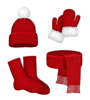 Roupas de inverno. lenço de luvas com meia de chapéu de neve e roupa de natal vermelha da moda da temporada de peles modelo realista