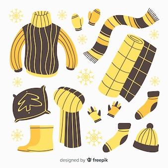 Roupas de inverno mão desenhada e essentials