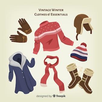 Roupas de inverno vintage e fundamentos