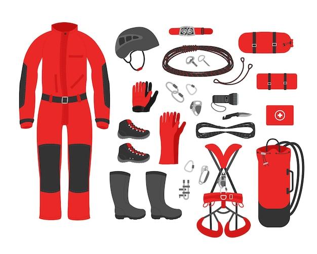 Roupas de kit de equipamentos de espeleologia. ilustração em vetor acessório espeleológico.