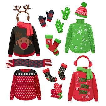 Roupas de natal. camisolas feias de inverno chapéus luvas cachecóis pulôver com imagens de vetor de decoração têxtil. chapéu e lenço de natal, macacão de roupas para ilustração de férias de inverno
