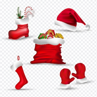 Roupas de papai noel como luvas, meias, chapéu, bota e saco de presentes.
