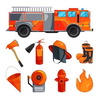 Roupas de proteção de bombeiro, botas, capacete, machado e outras ferramentas específicas.