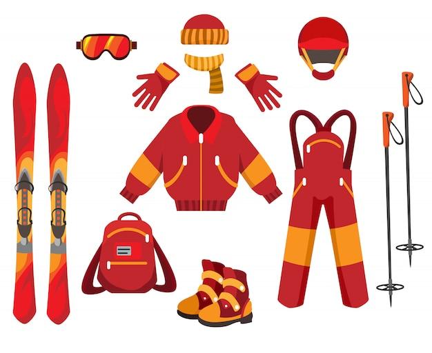 Roupas e equipamentos de esqui