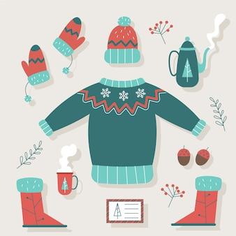 Roupas e itens essenciais de inverno retrô