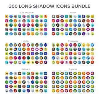 Roupas e moda, multimídia, verão, profissionais e emoticons 300 long shadow icons b