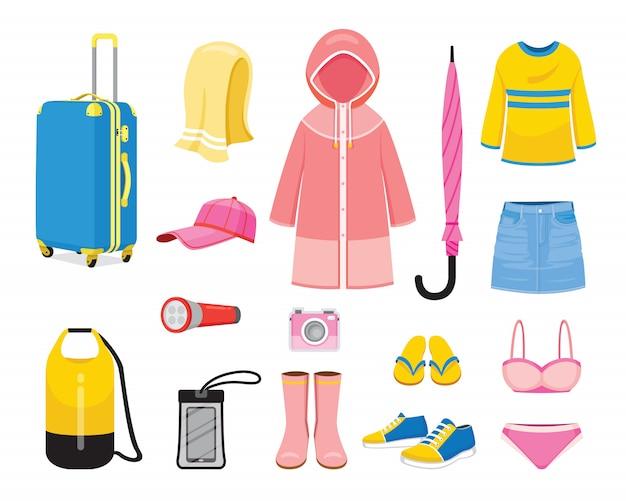 Roupas e necessidades para viagem de viagem para a estação das chuvas