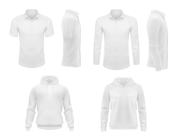 Roupas masculinas, camisas com mangas curtas e longas e capuz