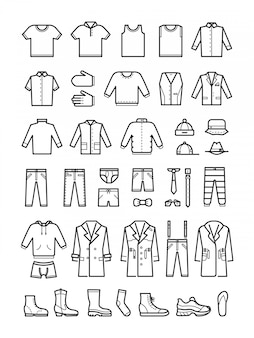 Roupas masculinas, conjunto de ícones de vetor linha masculina de moda
