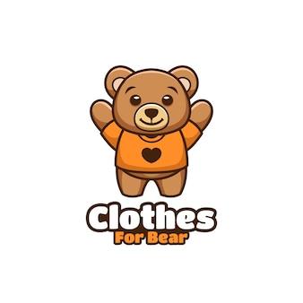 Roupas para ilustração de desenhos animados do urso kawaii