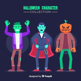 Roupas para jovem adulto coleção de personagem de halloween plana