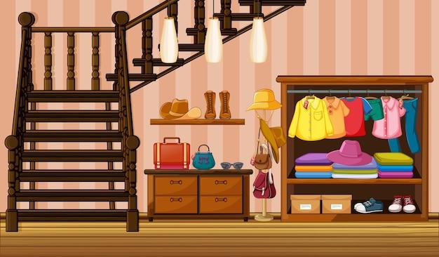 Roupas penduradas no guarda-roupa com muitos acessórios no cenário da casa