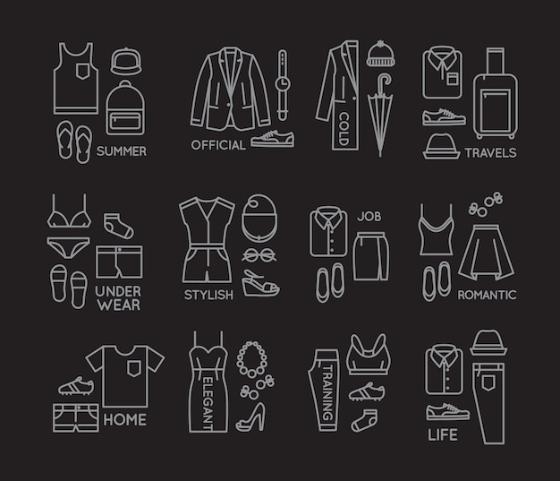 Roupas planas completam ícones preto