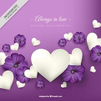 Roxo com corações brancos fundo do amor