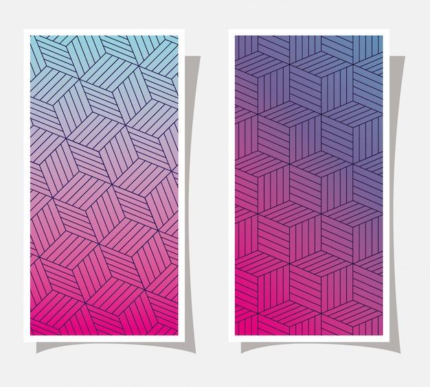 Roxo com gradiente e padrão rosa e azul