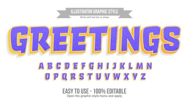 Roxo e amarelo com efeito de texto de desenho animado de linha elegante