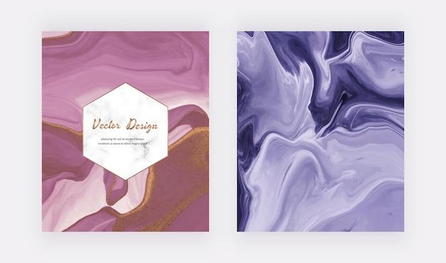 Roxo e azul com capas de tinta líquida com glitter dourado para convites