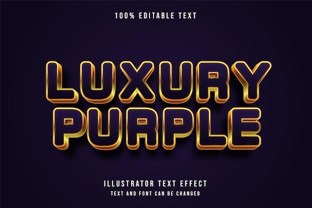 Roxo luxuoso, efeito de texto editável em 3d estilo de texto ouro roxo moderno