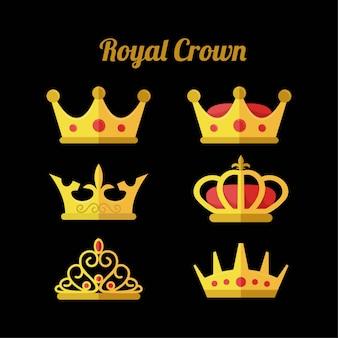 Royal crown icon set ilustração vetorial