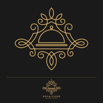 Royal food - modelo de logotipo de restaurante de luxo