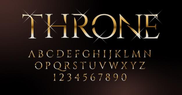 Royal gold classic elegant font set