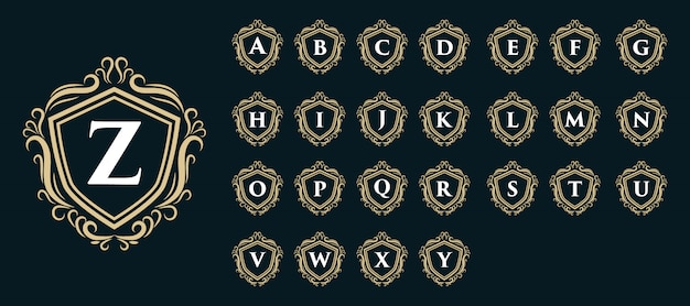 Royal vintage luxo antigo logotipo distintivo monograma com inicial