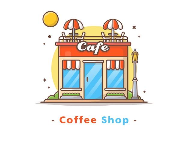 Rua café edifício ilustração vetorial