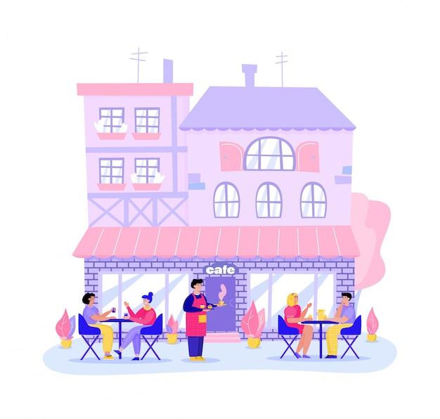 Rua café ou restaurante e visitantes cartum ilustração