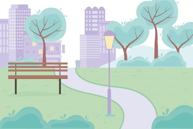 Rua cidade parque urbano estrada banco lâmpada árvores grama design